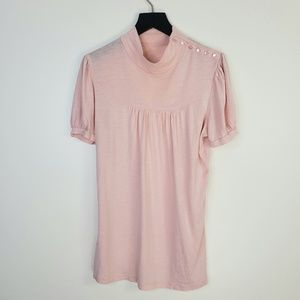 Anthro • Deletta Light Pink Button Shoulder Top
